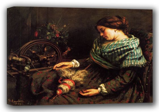 Courbet, Gustave: Girl Fallen Asleep. Fine Art Canvas. Sizes: A3/A2/A1 (001042)